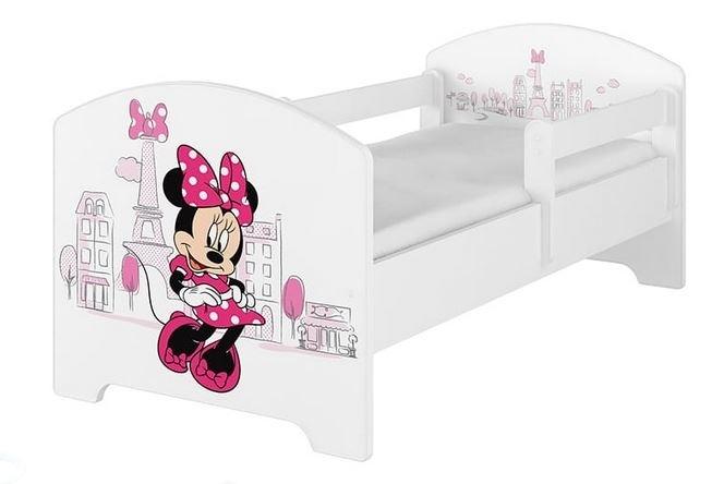 BabyBoo Detská posteľ Disney - Miniie Paris - biela s matracom, 140x70 cm