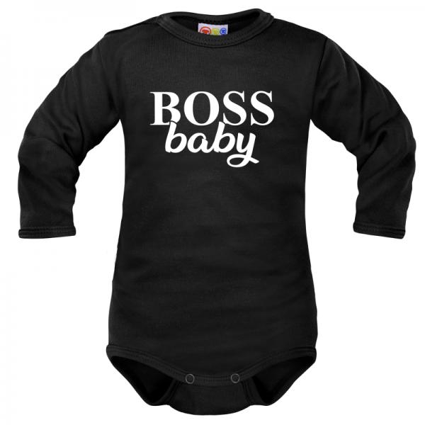 Body dlhý rukáv Dejna Boss baby - čierne, veľ: 68-68 (4-6m)