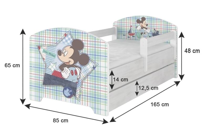 BabyBoo Detská posteľ Disney - Mickey s kamarátmi - biela s matracom, 160x80 cm