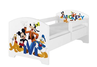 BabyBoo Detská postel Disney - Mickey s kamarátmi - biela s materacom, 160 x 80 cm