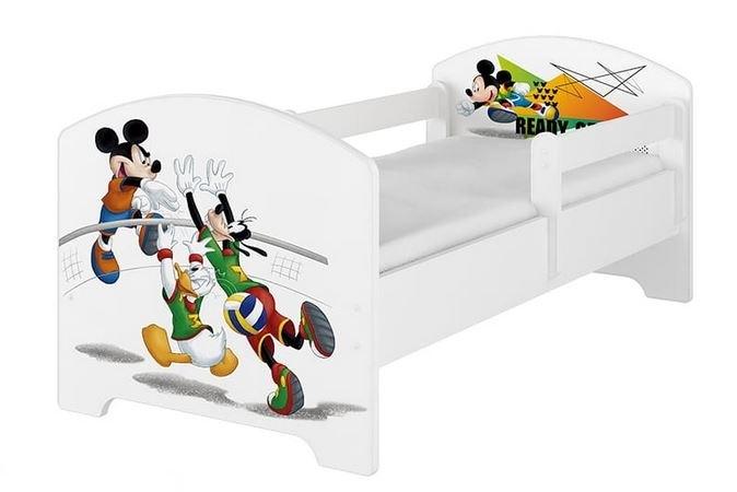 BabyBoo Detská posteľ Disney - Mickey Volleyball - biela s matracom, 160x80 cm