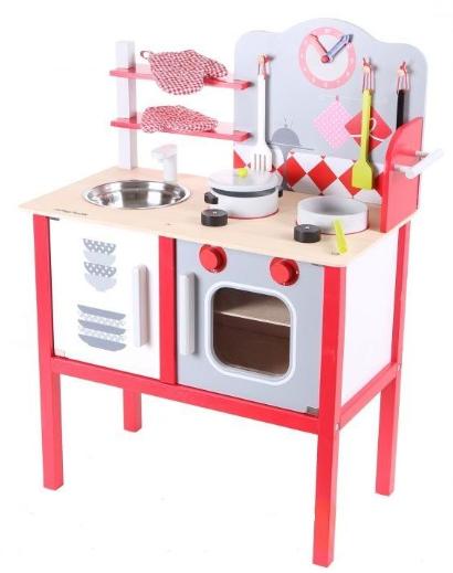 Eco Toys Drevená kuchynka s príslušenstvom, 75 x 55 x 30 cm - červená