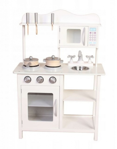 Eco Toys Drevená kuchynka s príslušenstvom, 85 x 60 x 30 cm - biela