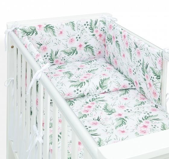 Mamo Tato 3-dielny set do postieľky s mantinelom - Ružová záhrada-#Velikost povlečení;120x90