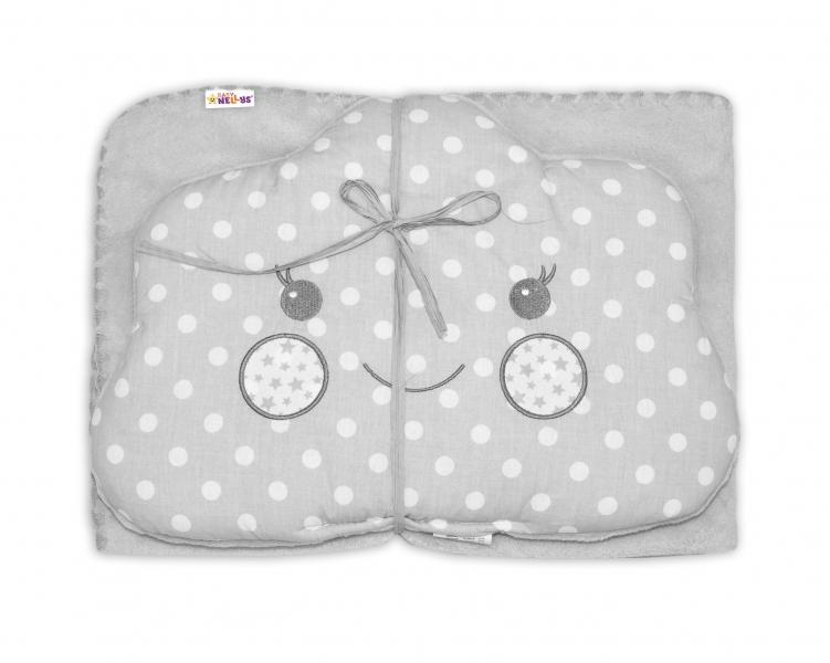 Detská sada deka + vankúšik Mráčik Baby Nellys ® - bubble sivá