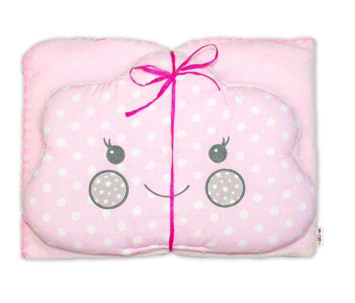 Detská sada deka + vankúšik Mráčik Baby Nellys ® - bubble ružová