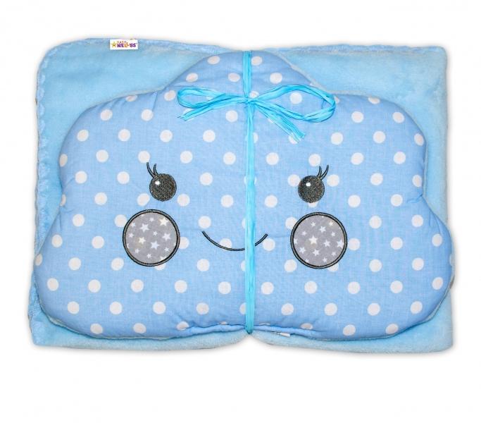 Detská sada deka + vankúšik Mráčik Baby Nellys ® - bubble modrá