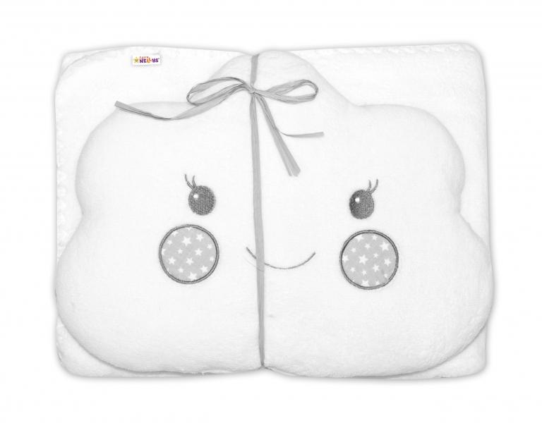 Detská sada deka + vankúšik Mráčik Baby Nellys ® - biela