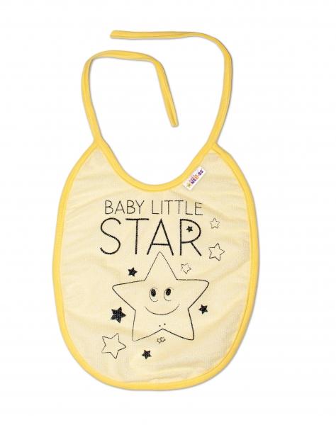 Nepromokavý podbradník, 24 x 23 cm Baby Nellys veľký Baby Little Star - žltá