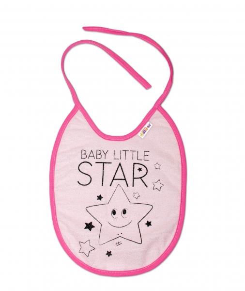 Nepromokavý podbradník, 24 x 23 cm Baby Nellys veľký Baby Little Star - ružová