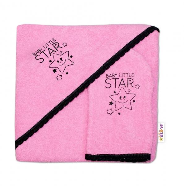 Detská osuška s kapucňou + žinka Baby Little Star, Baby Nellys, roz. 80 x 80 cm - ružová