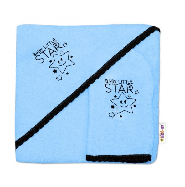 Detská osuška s kapucňou + žinka Baby Little Star, Baby Nellys, roz. 80 x 80 cm - modrá