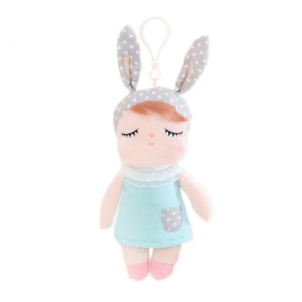 Mini handrová bábika Metoo s uškami a klipom, mätové šaticky, 19cm