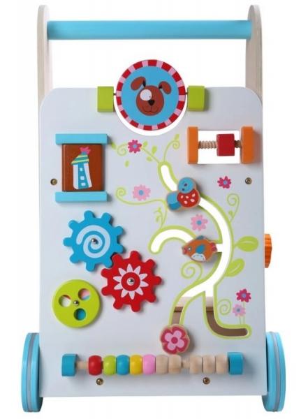Eco toys Drevené chodítko, edukačná kocka - biela