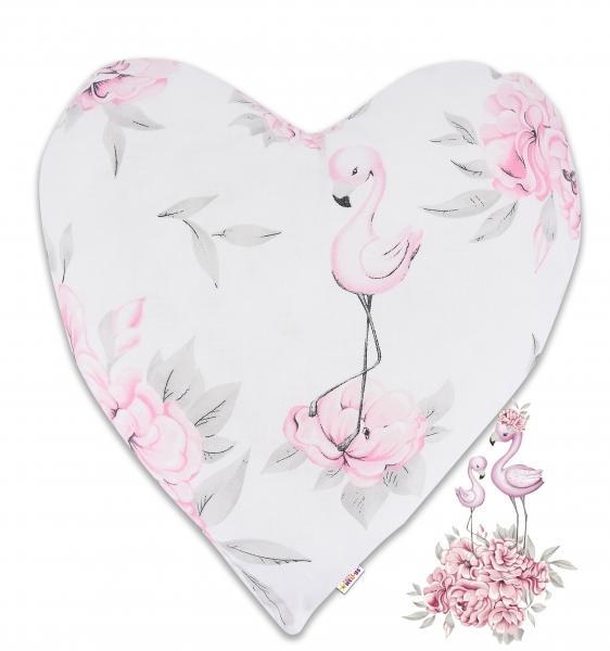 Baby Nellys  Bavlnený detský dekoračný vankúš, Srdiečko - Plameniak ružový