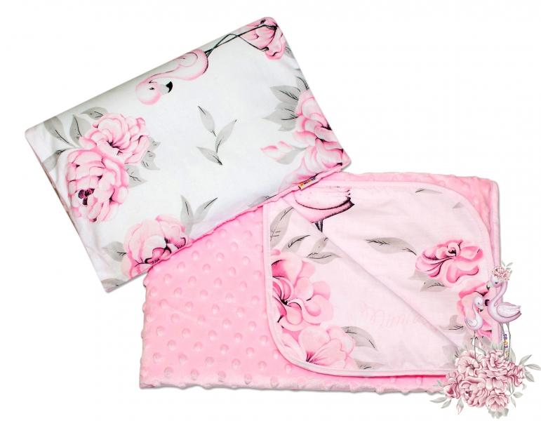 Obojstranná sada Baby Nellys, vankúšik s obliečkami + dečka, Minky - Plameniak ružový