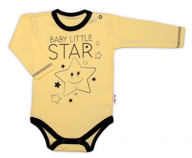 Baby Nellys Body dlhý rukáv, žlté, Baby Little Star