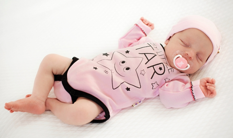 Baby Nellys Body dlhý rukáv, ružové, Baby Little Star