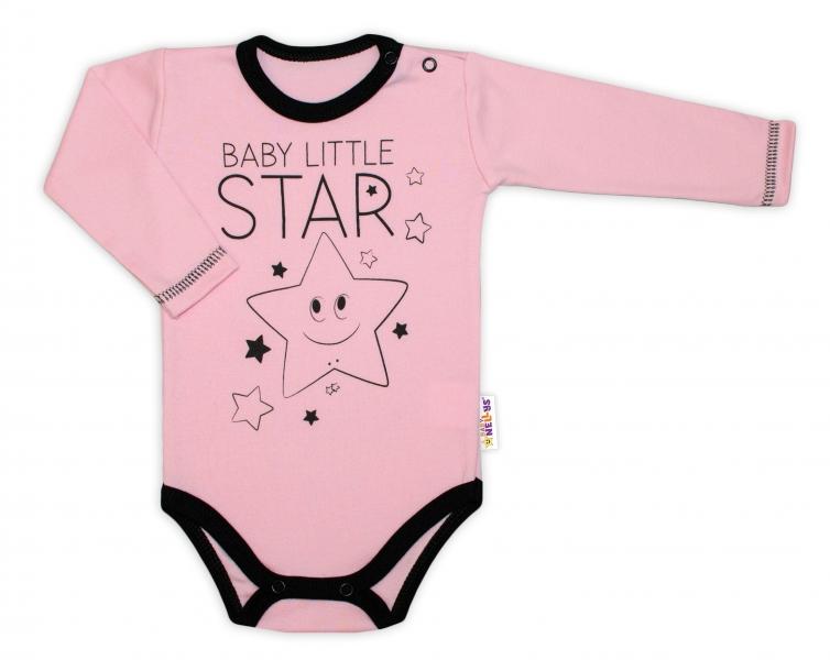 Kojenecké body dlhý rukáv, ružové, Baby Little Star, veľ. 74