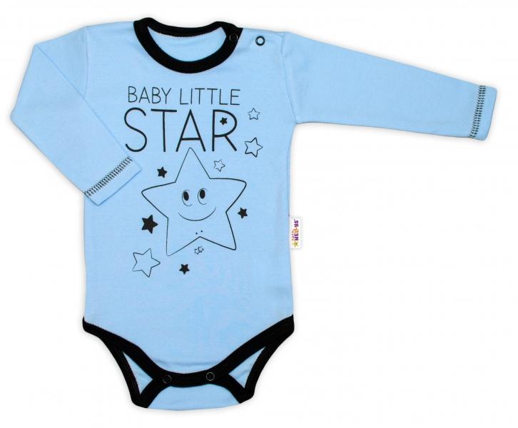 Baby Nellys Body dlhý rukáv, modré, Baby Little Star