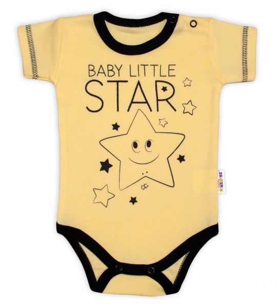 Body krátky rukáv Baby Nellys, Baby Little Star - žlté, veľ. 74