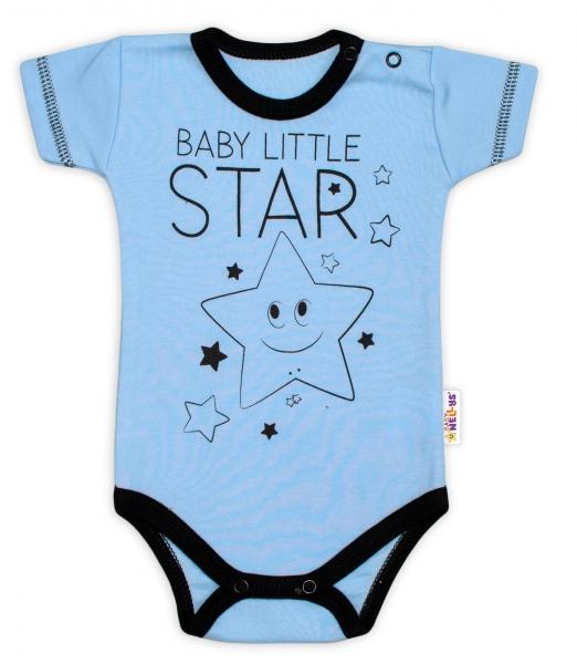 Body krátky rukáv Baby Nellys, Baby Little Star - modré, veľ. 74