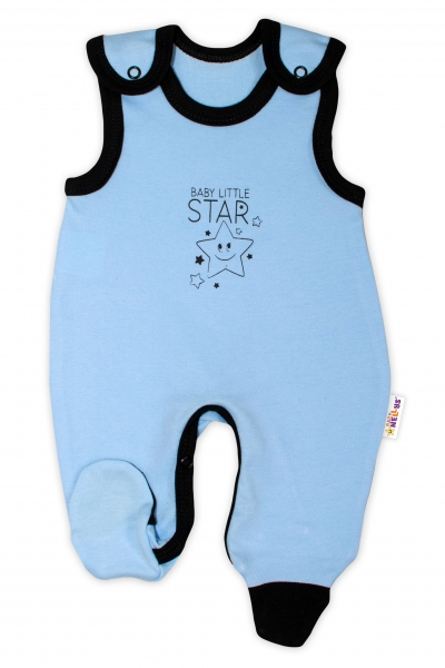 Dojčenské bavlnené dupačky Baby Nellys, Baby Little Star - modré, veľ. 56
