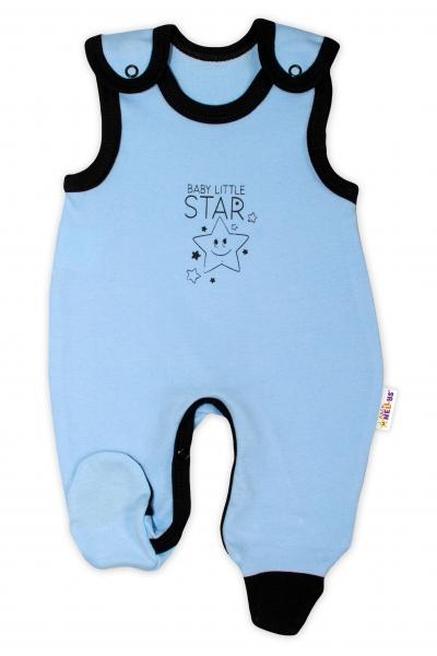 Dojčenské bavlnené dupačky Baby Nellys, Baby Little Star - modré, veľ. 74-74 (6-9m)