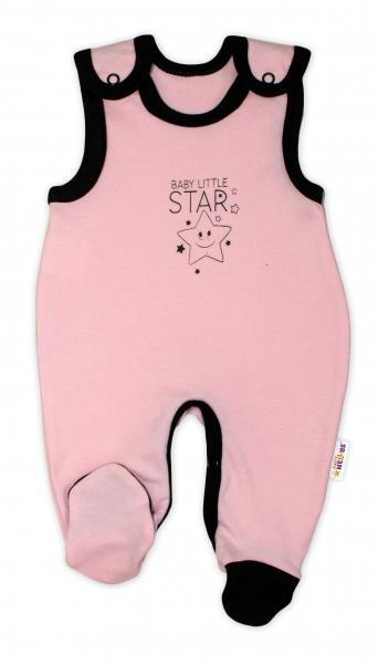 Dojčenské bavlnené dupačky Baby Nellys, Baby Little Star - ružové, veľ. 68