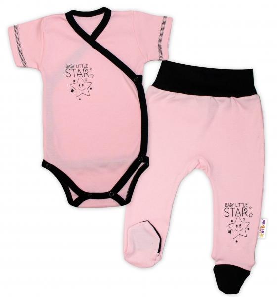 Baby Nellys 2-dielna sada body kr. rukáv + polodupačky, ružová - Baby Little Star-50 (0-1m)