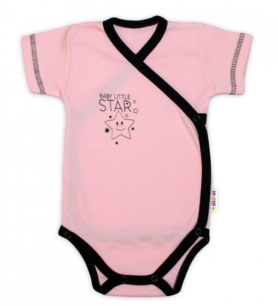 Kojenecká 2-dielna sada body kr. rukáv + polodupačky, ružová - Baby Little Star, veľ 50