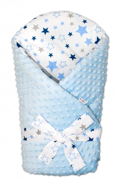 Zavinovačka Minky Baby Nellys Hviezdy a hviezdičky - modrá / granát na bielom, sv. modrá