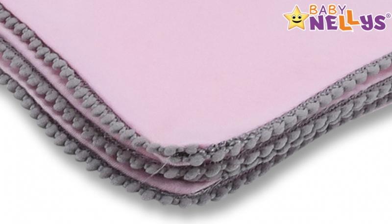 Baby Nellys Letná deka s mini brmbolcami, jersey, 100 x 75 cm - ružová/sivý lem