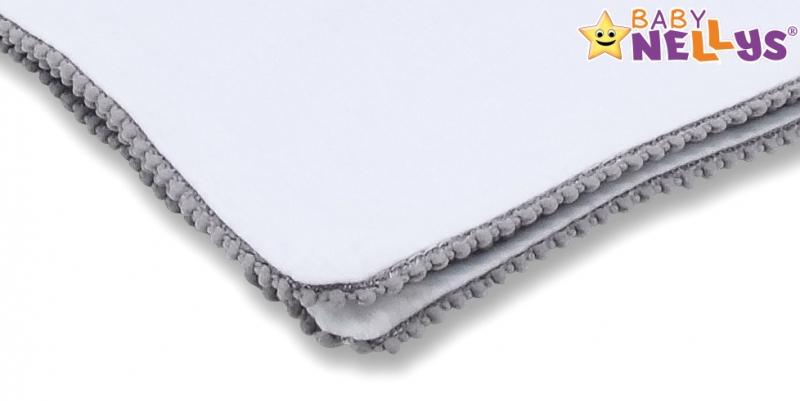 Baby Nellys Letná deka s mini brmbolcami, jersey, 100 x 75 cm - biela/sivý lem