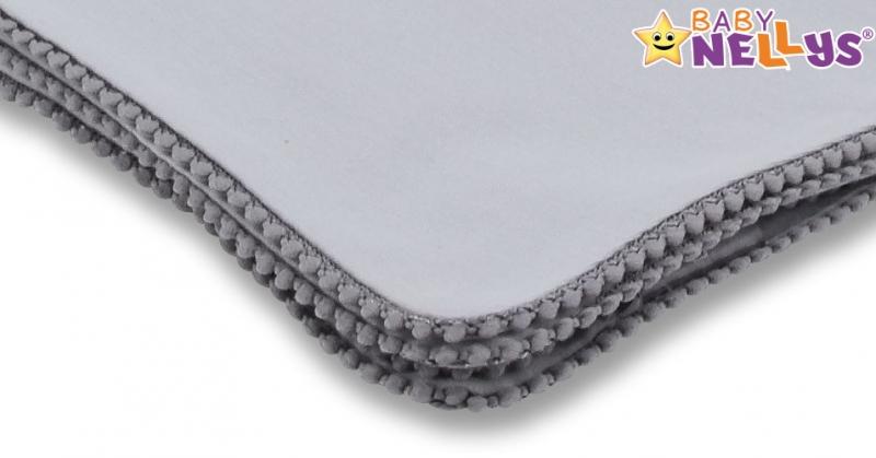 Baby Nellys Letná deka s mini brmbolcami, jersey, 100 x 75 cm - sivá/sivý lem
