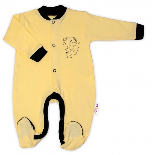 Baby Nellys Bavlnený overal Baby Little Star - žltý, veľ. 68