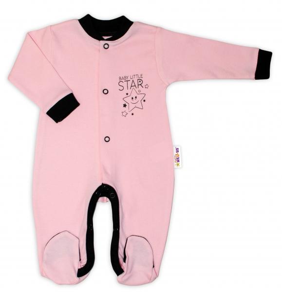 Baby Nellys Bavlnený overal Baby Little Star - ružový, veľ. 80-80 (9-12m)