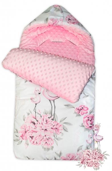 Bavlnený spací vak/fusák Baby Nellys, minky, Plameniak, 45 x 95 cm - ružový