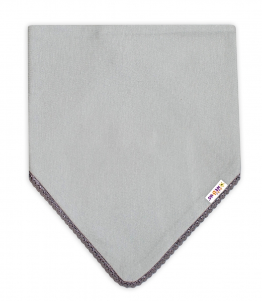 Detská bavlnená šatka na krk Baby Nellys - šedá/šedý lem