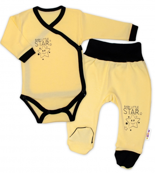 Baby Nellys 2-dielna sada body dl. rukáv + polodupačky, žltá - Baby Little Star-#Velikost koj. oblečení;50 (0-1m)