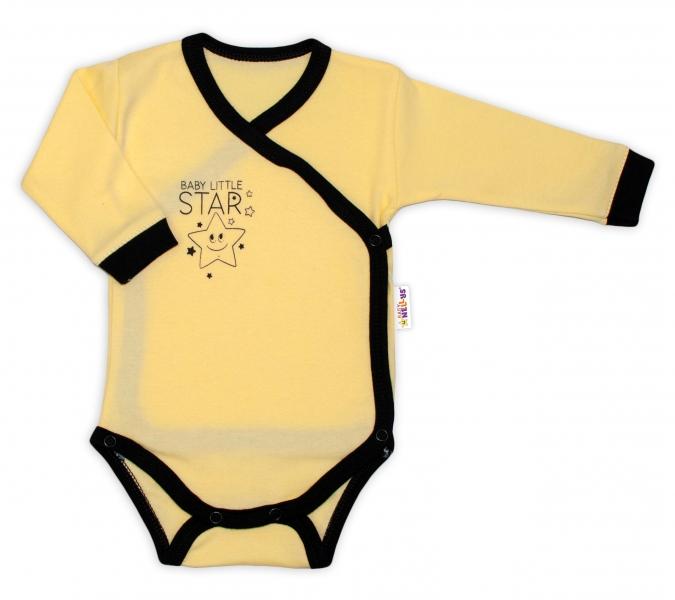 Kojenecká  2-dielna sada body dl. rukáv + polodupačky, žltá - Baby Little Star, veľ. 68