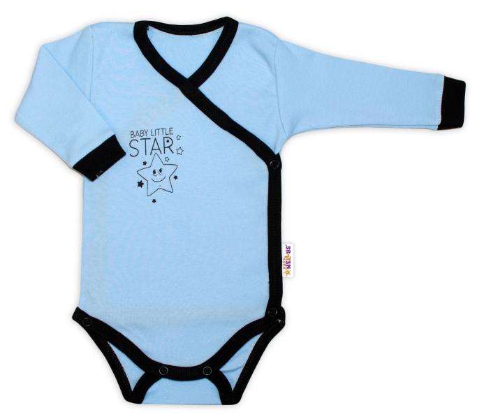 Kojenecká  2-dielna sada body dl. rukáv + polodupačky, modrá - Baby Little Star, veľ. 56