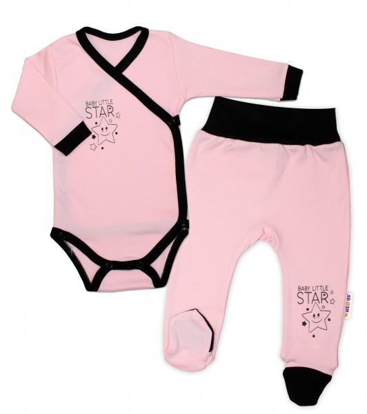 Baby Nellys 2-dielna sada body dl. rukáv + polodupačky, ružová - Baby Little Star-50 (0-1m)