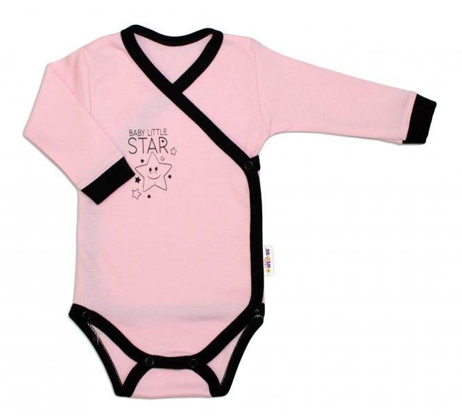 Kojenecká 2-dielna súprava body dl. rukáv + polodupačky, ružová - Baby Little Star, veľ. 62