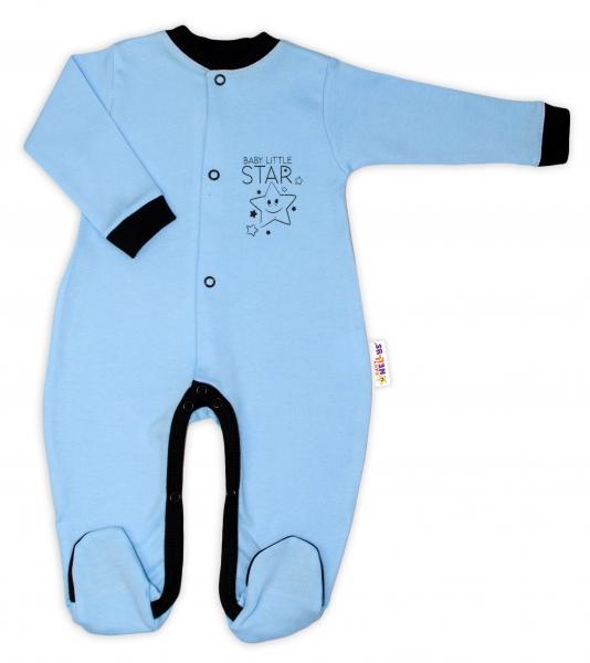 Baby Nellys Bavlnený overal Baby Little Star - modrý, veľ. 50