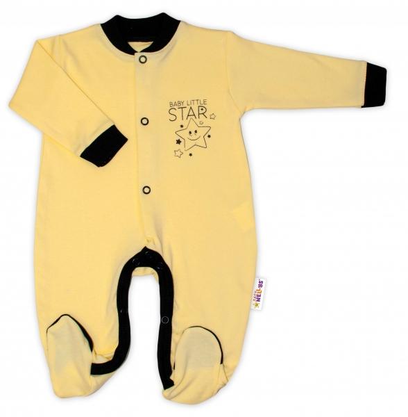 Baby Nellys Bavlnený overal Baby Little Star - žltý-50 (0-1m)
