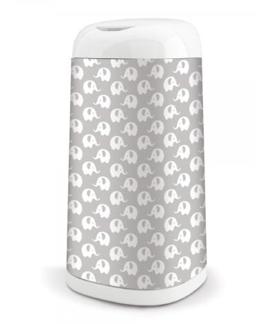 ANGELCARE Kôš na použité plienky Dress Up + 1 vložka do koša - Slony šedé