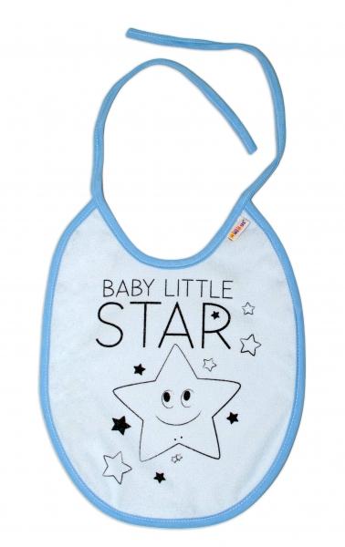 Nepromokavý podbradník, 24 x 23 cm Baby Nellys veľký Baby Little Star - sv. modrá