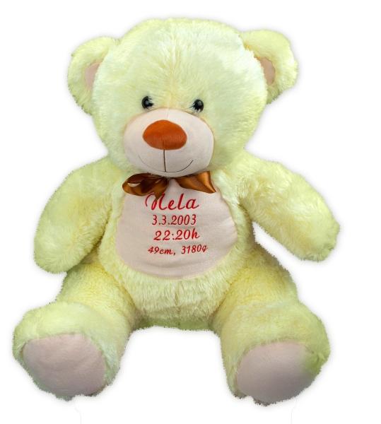 Baby Nellys Plyšový medveď 100 cm s výšivkou na želanie - citronek