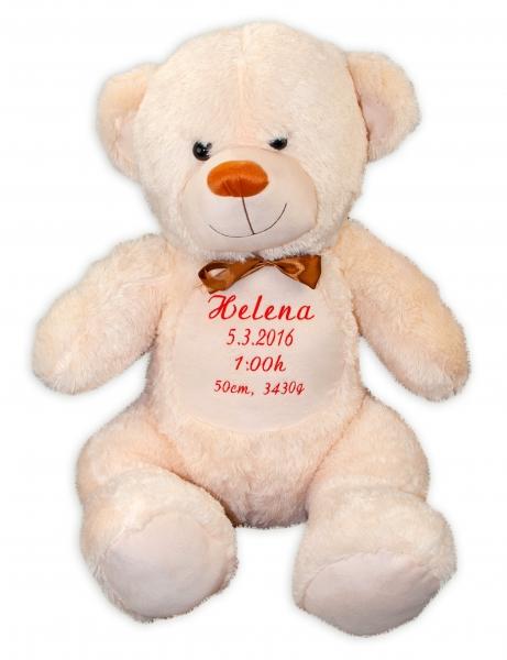 Baby Nellys Plyšový medveď 100 cm s výšivkou na želanie - béžový